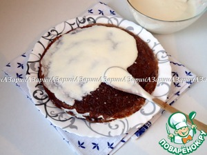 Then sandwiching the cherry pancakes plombires cream. Cake to remove in the cold to complete solidification of the cream.