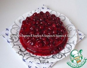 Frozen cake drizzle cherry sauce and serve. Nice!