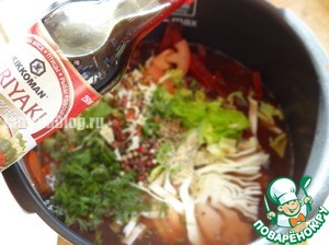 Beets, cabbage, celery cut into large strips, tomatoes semicircles;  In a bowl, add the remaining water, put vegetables, spices, herbs shinkovannuyu.  Add the soy sauce and oil
