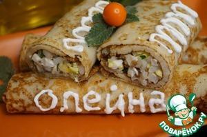 """Рецепт Начинка для блинов """"Рис, яйцо и мясо"""""""