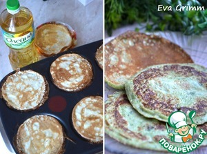 For pancakes knead all the specified ingredients, fry the pancake maker or pan the usual way