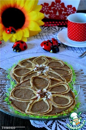The cooled-down cream coat the whole pancakes, decorate the top delicate. Enjoy your tea!