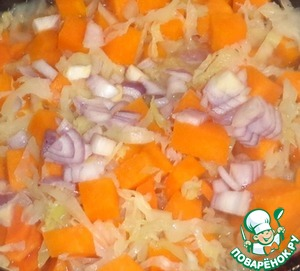 Pumpkin cut into medium cubes and add to the frying pan to the vegetables. Onions cut into small pieces and add to the pan. Add the Basil and salt to taste.  Mix well.
