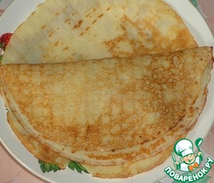 On one half of the pancake spread 2-3 tablespoons of the filling and cover with another piece of pancake toppings.