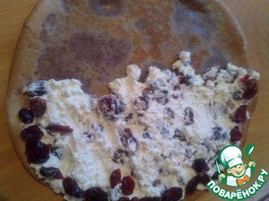 On half of each pancake thinly spread the cheese filling on the edge of the pancake spread the berries dried cranberries.