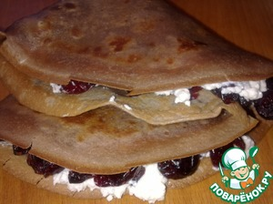 Fold crepes in four.