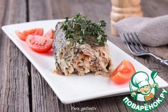 Рецепт: Скумбрия с рисом, грибами и вялеными томатами