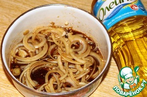 Garlic and onion are fully immersed in the marinade.