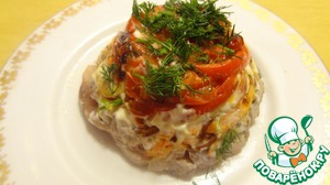 Turn over the mold, remove the foil, sprinkle with finely chopped dill