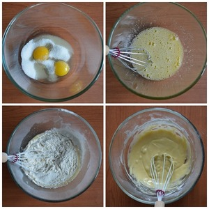 Beat eggs with sugar (you can add a pinch of salt). Pour the sifted flour with the baking powder, mix well.