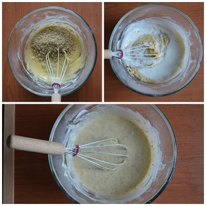 Add chopped nuts, mix well. The resulting mass gradually dilute thick yogurt, stirring constantly.