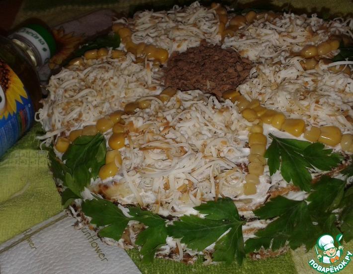 Рецепт: Закусочный блинный торт Подсолнух