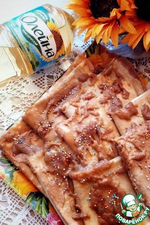 Рецепт Банановые блинчики с начинкой из сливочного сыра и карамелью