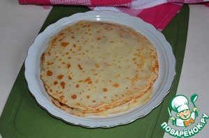 """And for the first and for the second Breakfast crepes. Pancakes should not be """" the hole"""". They will not tear and break when folding.  Pancakes can be baked the night before."""