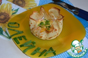 Get the form from the oven. Gently place on a plate, sprinkle with green onions.  And you can have Breakfast. Bon appetit!