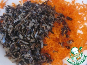 Mix carrots with rice.