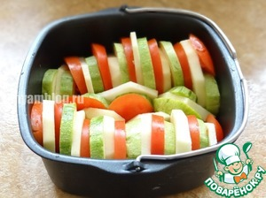 All the vegetables cut into circles and put (alternating) in a baking dish;