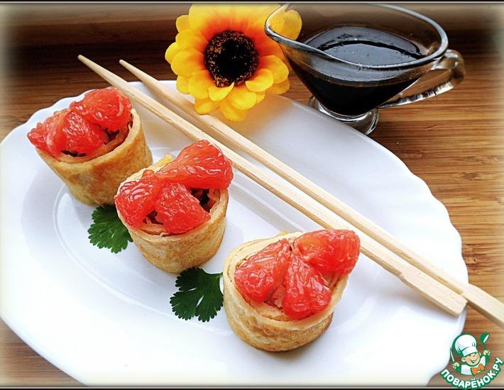 Рецепт: Блинные роллы с курицей и соусом Кусияки