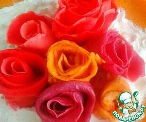Букет из разноцветных блинных роз готов!