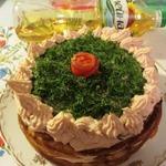 Блинный торт с кремом из копченой горбуши
