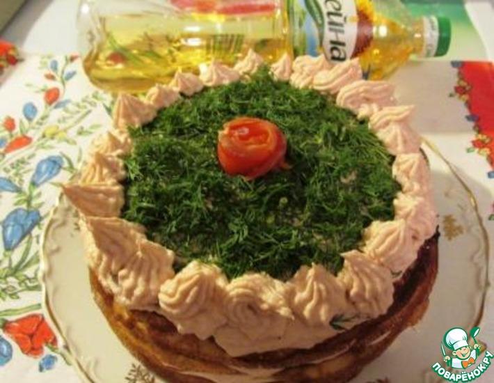 Рецепт: Блинный торт с кремом из копченой горбуши