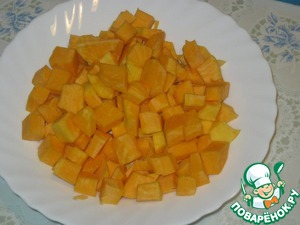 The flesh of pumpkin (Butternut variety) cut into large cubes.