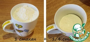 Add 1 Cup + 1/4 (a little less than half) cups of flour. (For orientation of the volume click on the picture).