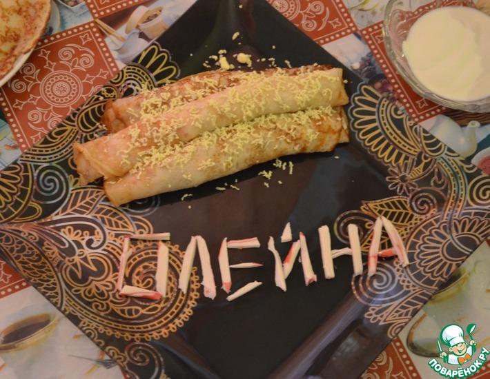 Рецепт: Блины с крабовым мясом и болгарским перцем