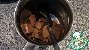 Остался соус. Шоколад ломаем на кусочки и смешиваем с корицей в жаропрочной миске. Растапливаем на водяной бане.