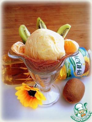 """Put a chocolate cake in a sundae dish - the scoop of ice cream """"they"""" and decorate with fruit."""