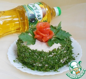 Decorate as desired, I finely chopped dill, which goes well with fish and cottage cheese.