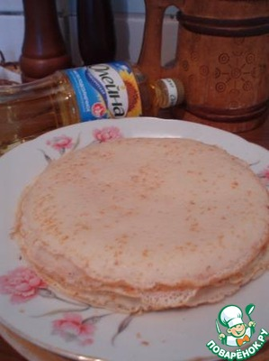 In this recipe I used here are the pancakes with a diameter of 15 cm which I baked in chicken broth according to this recipe  http://www.povarenok .ru/recipes/show/103 194/.