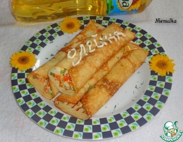 Рецепт: Блины с морковью и яйцом