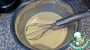 Медленно взбиваем венчиком и добавляем молоко. Должно получится однородное тесто. Его нужно убрать в холодное место на мин. 20-30. Лучше под крышкой.