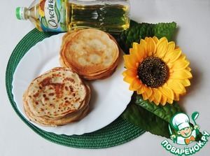 """Mix eggs, sugar, salt, flour and half of the rate of milk (to avoid lumps). Add rest of the milk, let the dough stand for half an hour. Stir in vegetable oil TM """"generous gift"""" and make pancakes (thin, small, I did 12 cm in diameter)."""