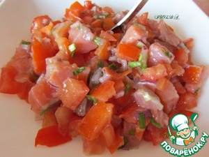 Chop the onion and mix all the ingredients of the salad, season with butter to taste. Salt is not necessary!  Bon appetit!