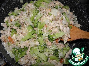Preheat a frying pan butter with vegetable oil, fry the onion, tomato, garlic, uncooked rice, chicken and broccoli for 2 4минут ( add salt and pepper to taste