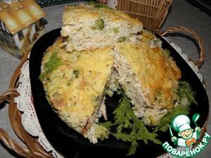 Рецепт Запеканка с рисом, курицей и брокколи