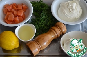 Ingredients for the mousse of smoked salmon: