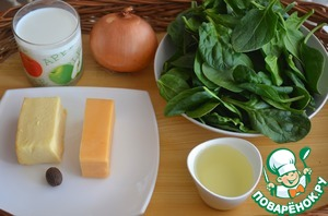 The ingredients for the sauce of spinach and cheese