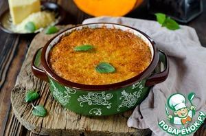 Запекать в разогретой до 180 градусов духовке в течении 30-40 минут или до румяной корочки.   При подаче можно посыпать поджаренными кедровыми орешками и листиками базилика.