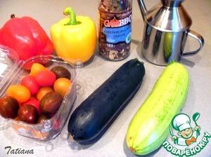 К запеченному мясу приготовьте овощи на гриле:      Вымытые кабачок, цуккини, сладкие перцы (нарежьте крупными дольками), помидоры-черри, сложите в миску, добавьте 2 ст. ложки растительного масла, щедро присыпьте острыми специями.   Обжарьте овощи на сковороде-гриль.
