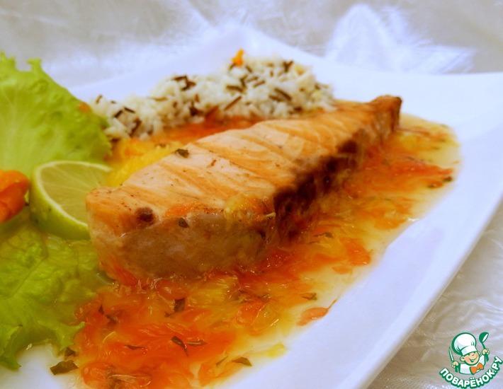 Рецепт: Семга с цитрусовым соусом