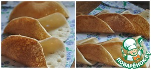 Remove the pancakes on a large Board, fold each separately from the other. The upper side will remain soft and bright. The bottom Browns to a beautiful Golden color. Roll the still warm pancakes basket. Out of the corner very easily connected and the pancakes hold their shape well.