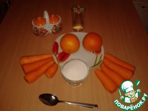 So we need raw carrots, oranges, sugar and water. Also good to have in the household of an ordinary meat grinder.