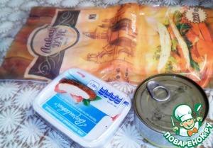 Для приготовления данного блюда нам понадобится обязательно : банка тунца, лаваш, плавленный сыр.