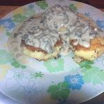 Биточки картофельные со сливочно-грибным соусом