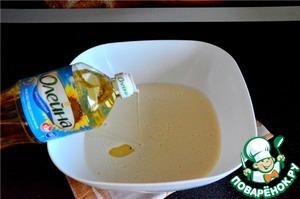 Соединить все ингредиенты для блинов. Добавить растительное масло Олейна