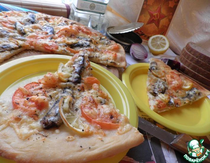 Рецепт: Пицца со шпротами Праздничный перекур