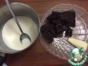 Cream to warm but not boil, remove from heat, add chocolate, butter. Mix everything, put into the refrigerator for 6-7hours